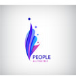 human logo 4 person icons group of people vector image