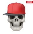 Human skull with rap cap on head vector image vector image