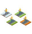 isometric deliveryman at different times vector image