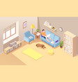 isometric room with freelancer man on sofa vector image vector image