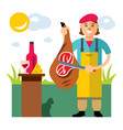 jamon butcher shop flat style colorful vector image vector image