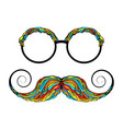 man glass and mustache colorful image vector image