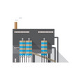 modern industrial building with pipe emitting vector image