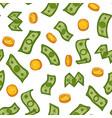 money rain pattern green dollar banknotes and vector image