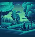 night in forest art cartoon vector image