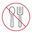 no eating thin line icon prohibition forbidden vector image vector image