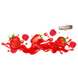 red berry juice splash wave whole and sliced vector image vector image