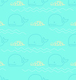 seamless pattern whale turtle vector image