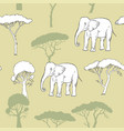 seamless pattern with elephant and savanna tree vector image