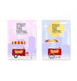 set posters with red fast food cart on backdrop vector image vector image