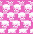 skull cartoon seamless pattern skeleton head vector image