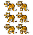 tiger with different facial expressions vector image vector image