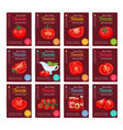 tomato product sauce ketchup poster set vector image vector image