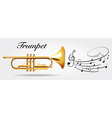 Trumpet and music notes vector image vector image