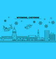 united states cheyenne winter holidays skyline vector image vector image