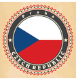 Vintage label cards of Czech Republic flag vector image