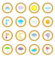 weather icons circle vector image vector image