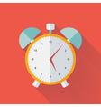 White and yellow alarm clock flat icon vector image