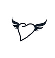 wing heart shape love vector image vector image