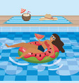 woman taking sun in pool vector image vector image