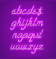glowing purple neon lowercase script font vector image