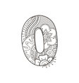 Zentangle number decorative number vector image