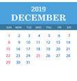 2019 calendar template - december vector image
