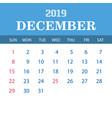 2019 calendar template - december vector image vector image