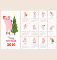 2019 calendar template new year celebration pig vector image vector image
