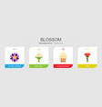4 blossom flat icons set isolated on infographic vector image vector image