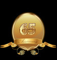 65th golden anniversary birthday seal icon vector image vector image