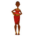 african woman with basket fruits dress and vector image vector image