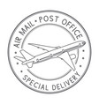 air mail postmark black stamp for envelopes with vector image vector image