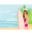 Beautiful surfer girl on a beach vector image