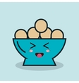 bowl full eggs cartoon isolated icon design vector image