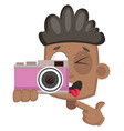 boy with pink camera on white background vector image vector image
