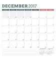 Calendar Planner Template for December 2017 Week vector image