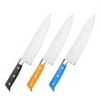 Chef knife with handle in different color vector image vector image