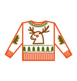 christmas holiday knitted sweater with animalistic vector image vector image