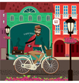 City travel by bicycle vector image vector image