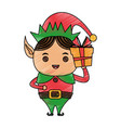 color pencil cartoon full body christmas elf with vector image vector image