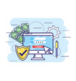 computer with password and shield security with vector image