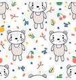 cute seamless pattern with little bear and vector image vector image