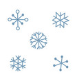 cute simple blue snowflake set isolated on light vector image vector image