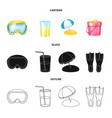 design of equipment and swimming icon set vector image