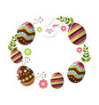 eggs easter with branches plant and face rabbit vector image vector image