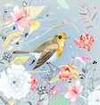 Floral background with a bird vector image