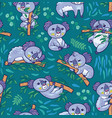 fun koalas in the eucalyptus seamless pattern vector image