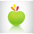 green apple icon with shadow and reflection vector image