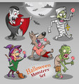 halloween monsters characters with candies vector image
